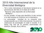 2010 a o internacional de la diversidad biol gica