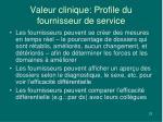 valeur clinique profile du fournisseur de service