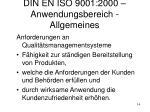 din en iso 9001 2000 anwendungsbereich allgemeines
