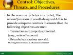 control objectives threats and procedures
