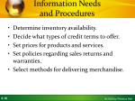 information needs and procedures
