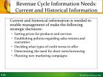 revenue cycle information needs current and historical information