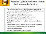 revenue cycle information needs performance evaluation
