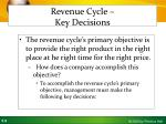 revenue cycle key decisions