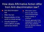 how does affirmative action differ from anti discrimination law