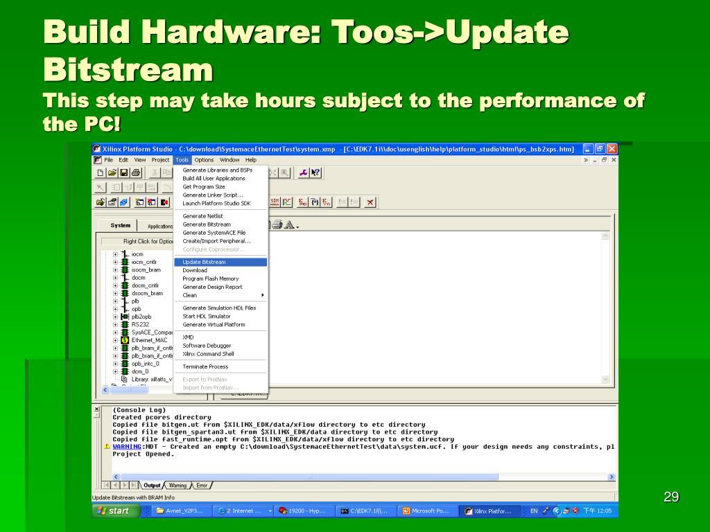 Build Hardware: Toos->Update Bitstream