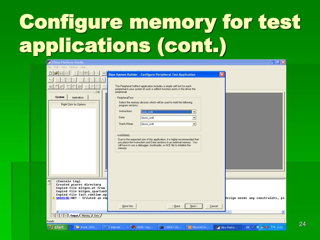 Configure memory for test applications (cont.)