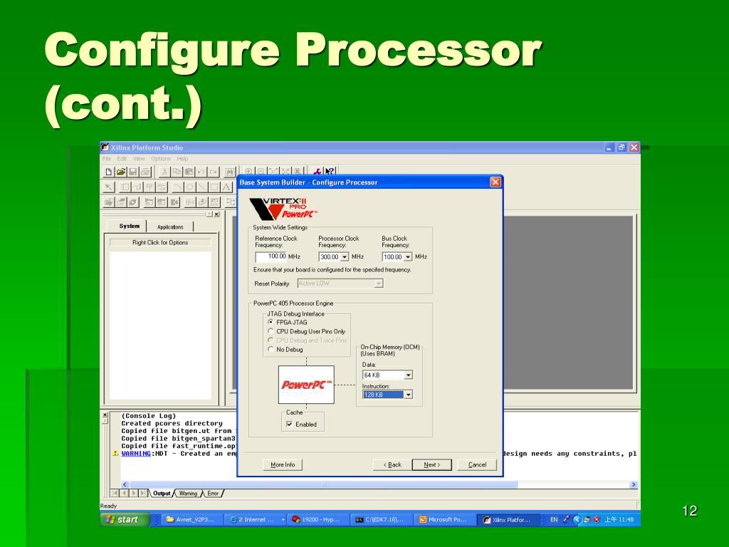 Configure Processor (cont.)