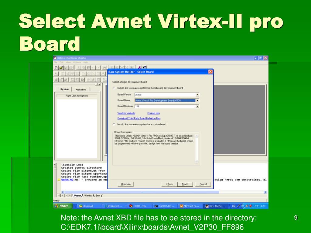 Select Avnet Virtex-II pro Board