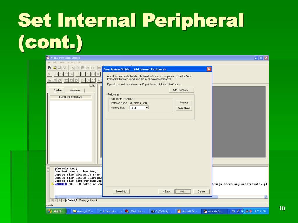 Set Internal Peripheral (cont.)