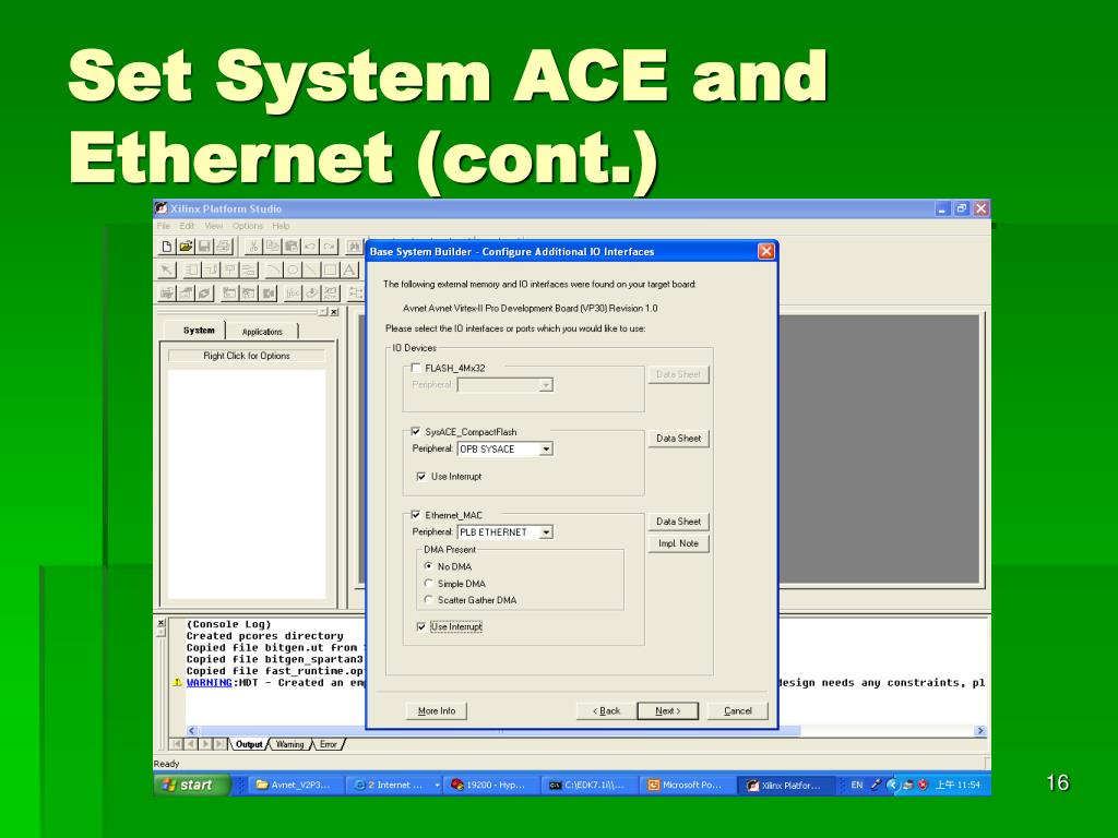 Set System ACE and Ethernet (cont.)