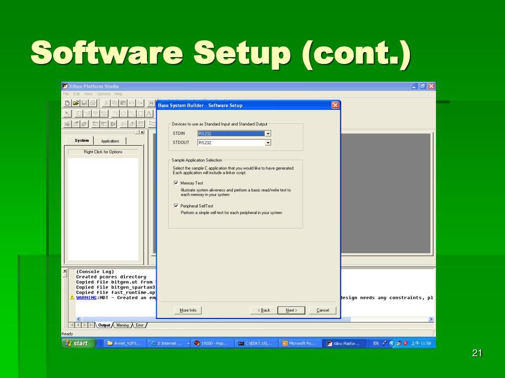 Software Setup (cont.)