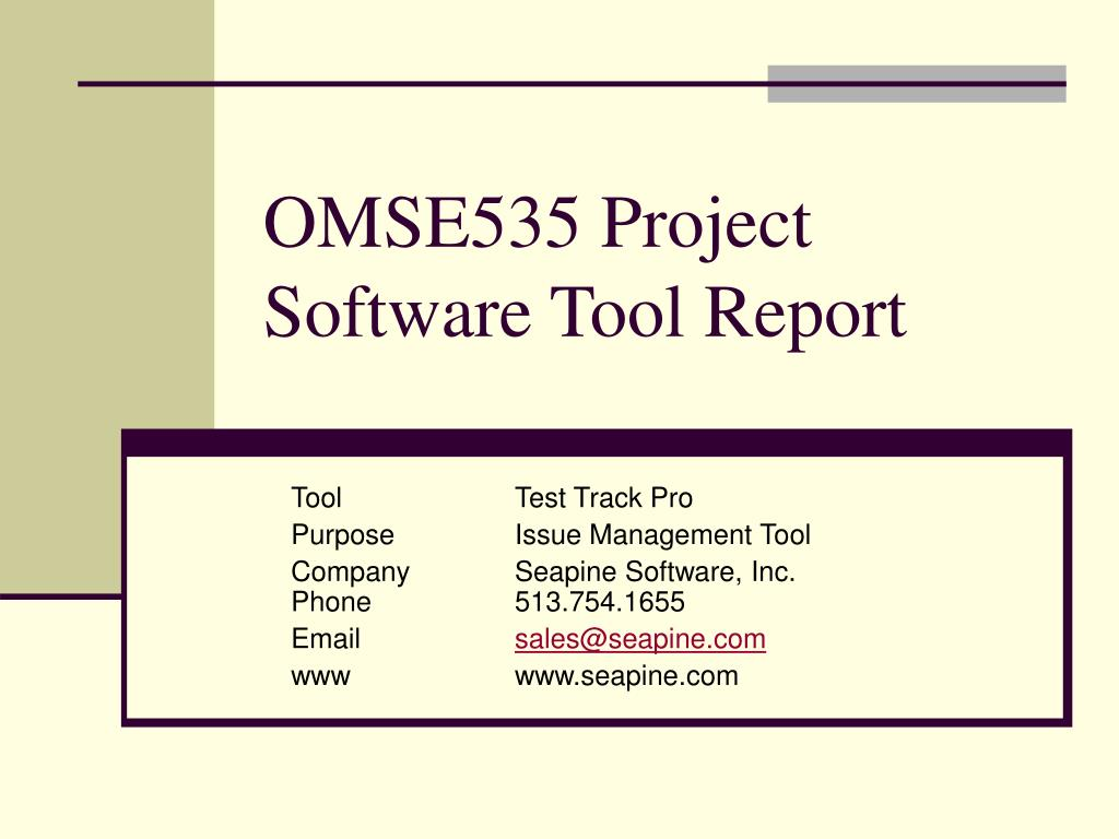 omse535 project software tool report l.