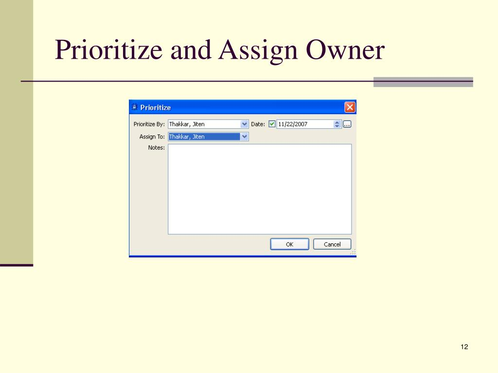 Prioritize and Assign Owner