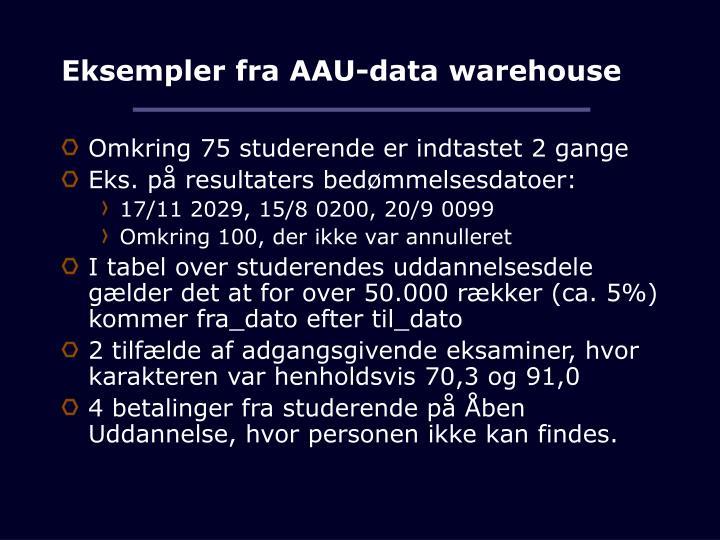 Eksempler fra AAU-data warehouse
