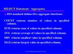 select statement aggregates
