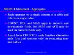 select statement aggregates1
