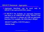 select statement aggregates3