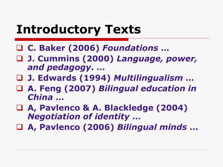Introductory Texts