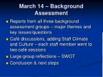 march 14 background assessment