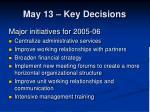 may 13 key decisions