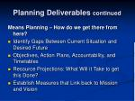 planning deliverables continued1