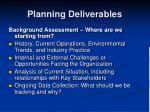 planning deliverables