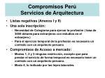 compromisos per servicios de arquitectura