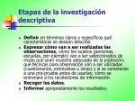 etapas de la investigaci n descriptiva