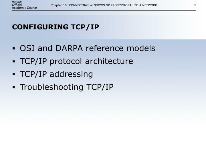 Configuring tcp ip