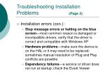 troubleshooting installation problems page 2