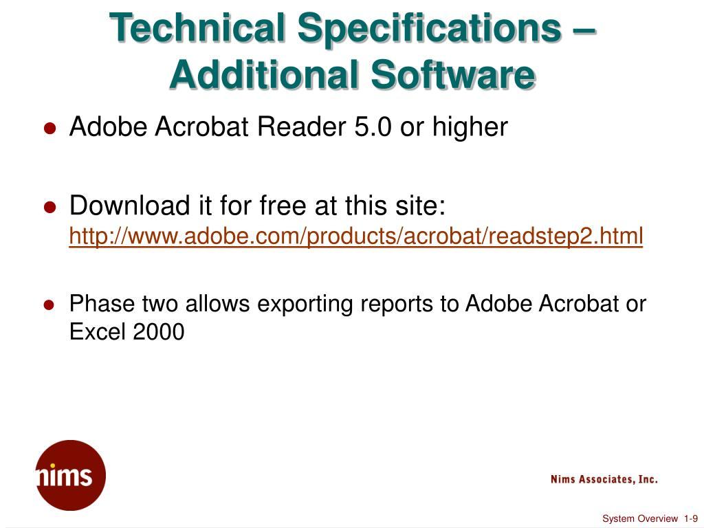 Technical Specifications – Additional Software