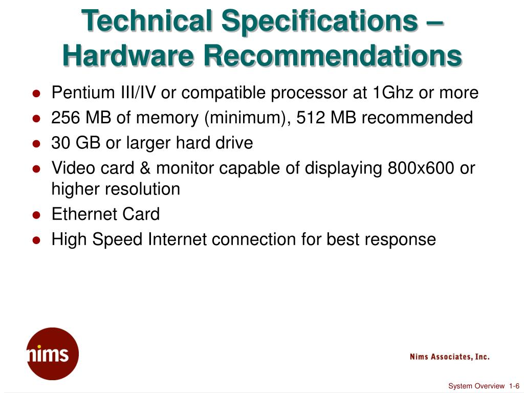 Technical Specifications – Hardware Recommendations