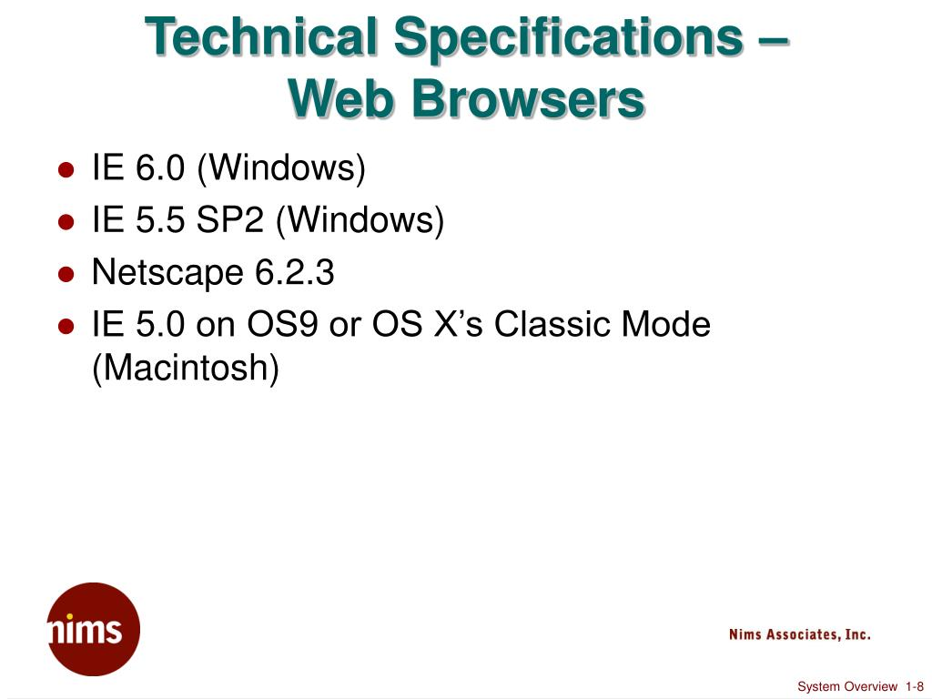 Technical Specifications –