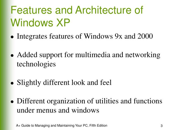 Features and architecture of windows xp