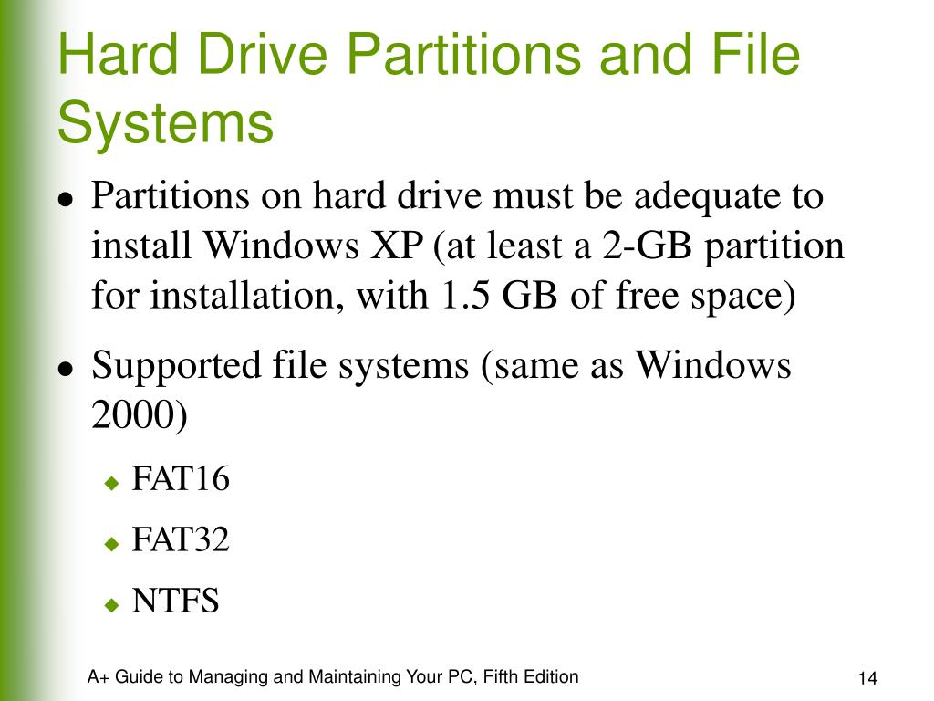 Hard Drive Partitions and File Systems