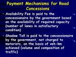 payment mechanisms for road concessions
