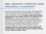 web educaci n a distancia poder informativo y constructivo