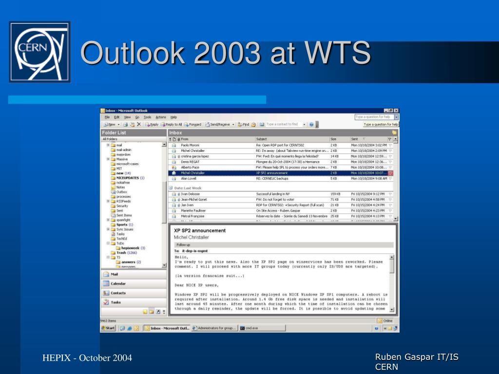 Outlook 2003 at WTS