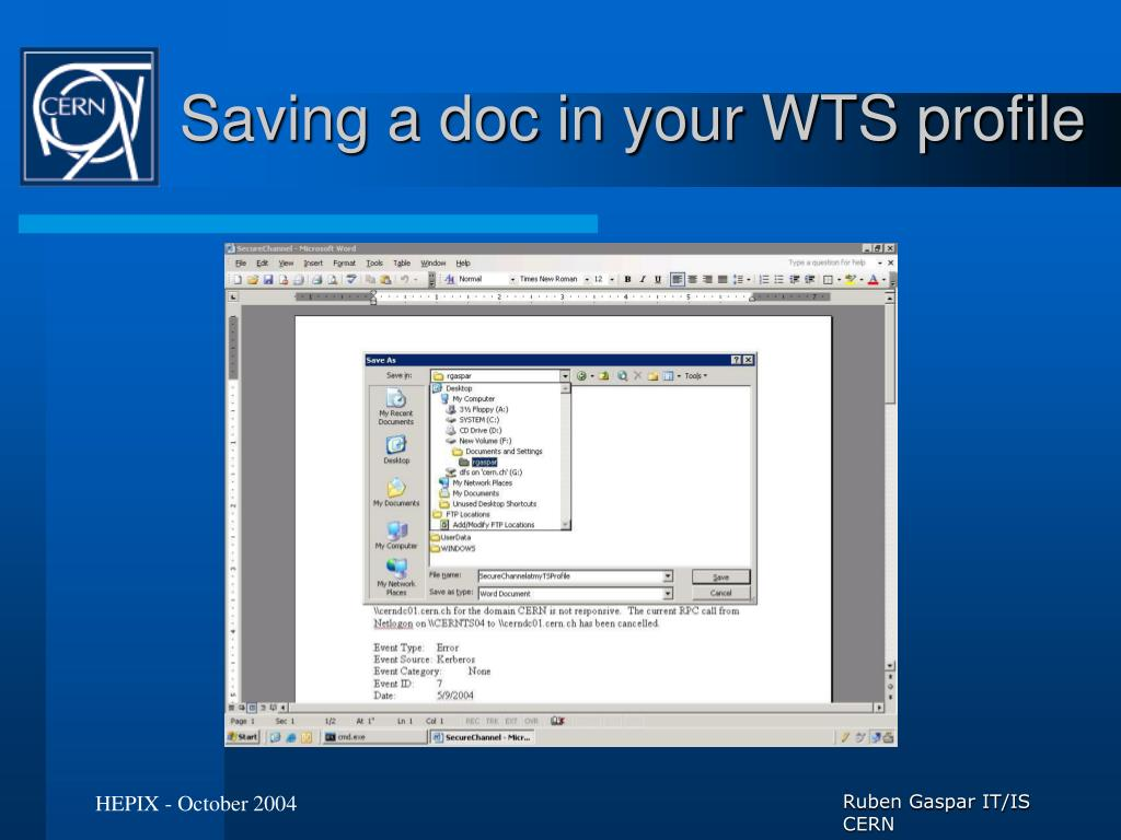 Saving a doc in your WTS profile