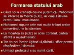 formarea statului arab