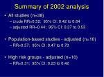 summary of 2002 analysis