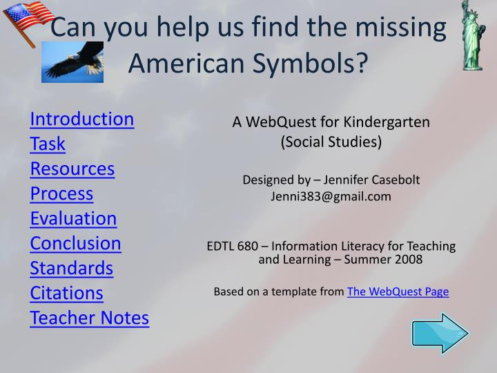 can you help us find the missing american symbols n.