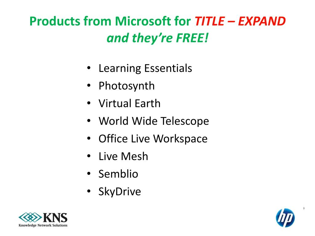 Products from Microsoft for