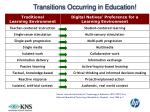 transitions occurring in education
