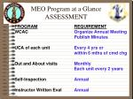 meo program at a glance assessment