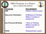 meo program at a glance education training