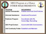 meo program at a glance other requirements