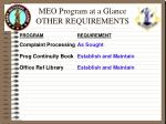 meo program at a glance other requirements9
