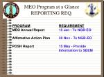 meo program at a glance reporting req